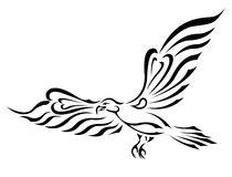Freedom Symbol Tattoo. Flying Bird With Big Wings Royalty Free Stock Photo - Image: 23965945