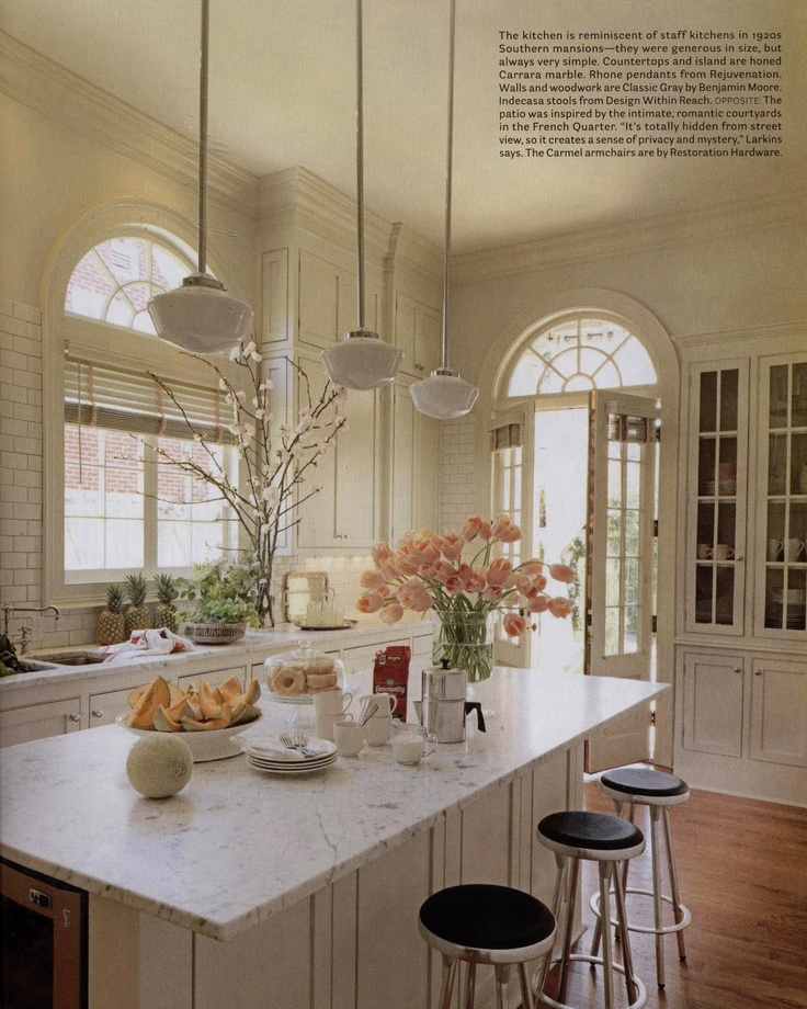 Classic-white kitchen w/ marble and subway tile; Ty Larkins
