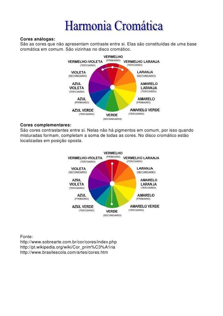 Cores Estudo Das Cores Com Imagens Estudo Das Cores Cores