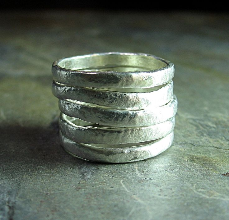 Summerlight - set of 5 textured stacking rings in pure silver     ...from Lavender Cottage on Etsy: Stacked Rings, Silver Stackable Rings, Rings Texture, Puree Silver, Lavender Cottages, Stacking Rings, Cottages Jewelry, Texture Stacked, Silver Rings