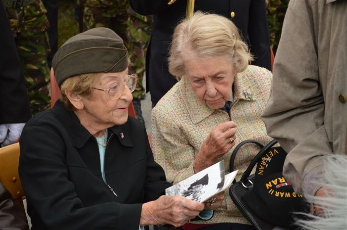 BOLLEVILLE, France -- June 4th, 2012 was a special day for WWII Army nurses and sisters Ellan and Dorothy Lewinsky.  Both sisters served as nurses at the 164th Field Hospital from August 1944 to May 1945, which was located in Bolleville.  Ellan and Dorothy also received honorary citizenship at the ceremony.  A memorial was inaugurated in honor of WWII medical personnel, unveiled by both sisters.
