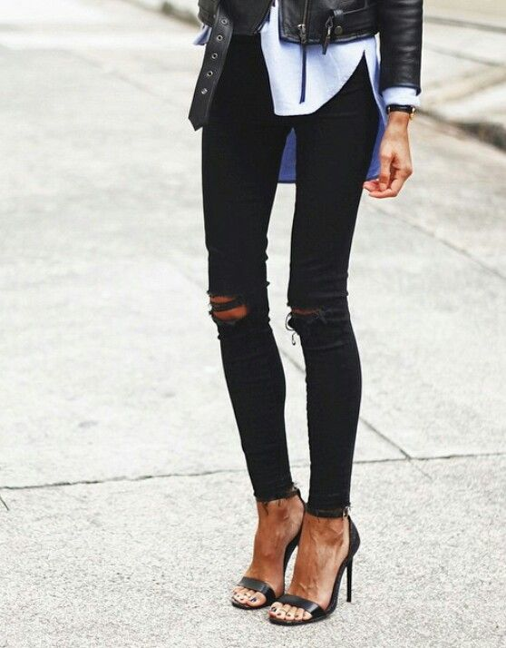 Love these jeans:: black ripped jeans I like the look paired with the  sandals & leather jacket.