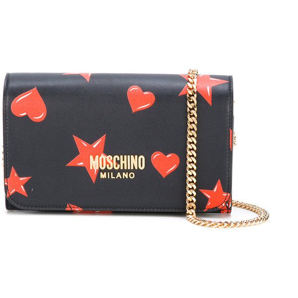Moschino Star And Heart Print Bag (€570) ❤ liked on Polyvore featuring bags, handbags, shoulder bags, leather shoulder handbags, red leather handbags, leather shoulder bag, red handbags and navy shoulder bag