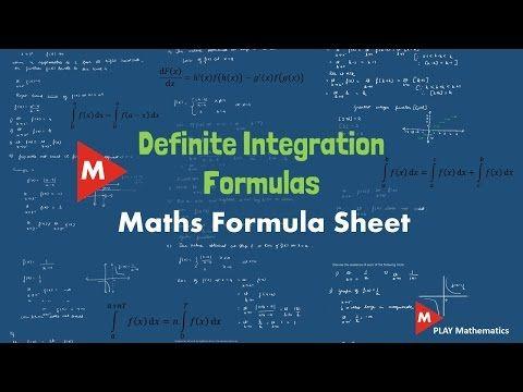 Definite Integration Formula Sheet   Maths formula sheet   PLAY Mathematics - YouTube