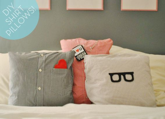 DIY : Turn old button-up shirts into pillows (something that I had on my mind but I didn't know how to do)