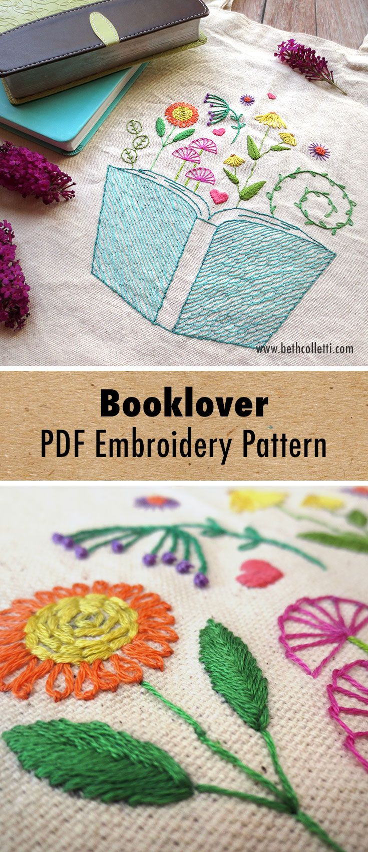 Book / Booklover Embroidery Pattern   Embroidery book, Embroidery ...