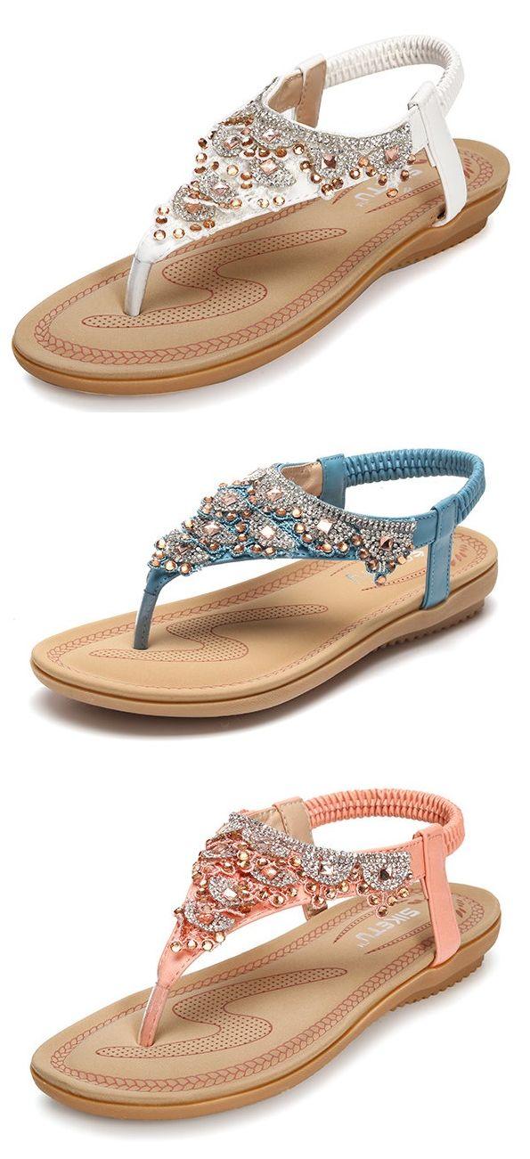 US$19.82 Beaded Crystal Bohemia Clip Toe Elastic Flat Sandals