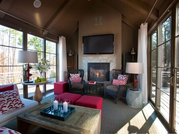 """The traditional Florida room takes on a new face at HGTV Green Home 2012. The weatherized yet unconditioned space is designed to live like an interior room, with vaulted beamed ceilings and a stylish mix of contemporary and antique furnishings. PLUS a 59"""" TV"""