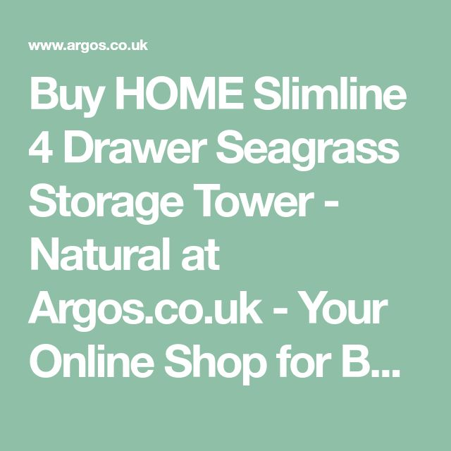 Buy HOME Slimline 4 Drawer Seagrass Storage Tower - Natural at Argos.co.uk - Your Online Shop for Bathroom shelves and storage units, Bathroom furniture, Home and garden.