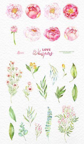 Liebe flüstert: 24 Aquarell florale Elemente, Pfingstrosen, Hochzeitseinladung, Valentinstag, diy Cliparts, Blumen Clipart, romantisch, rosa, Jasmin