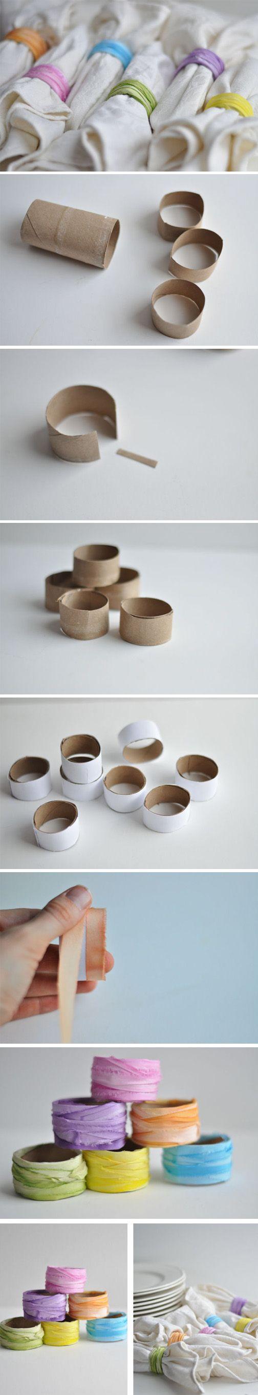 Anillos para servilletas con tubos de cartón