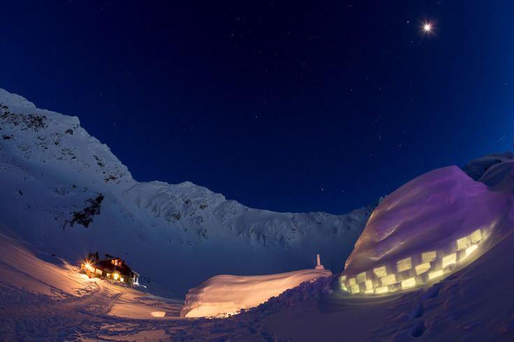 Balea Ice Hotel, the largest Ice Hotel form the Eastern Europe. Fagarasi Mountains, Romania.