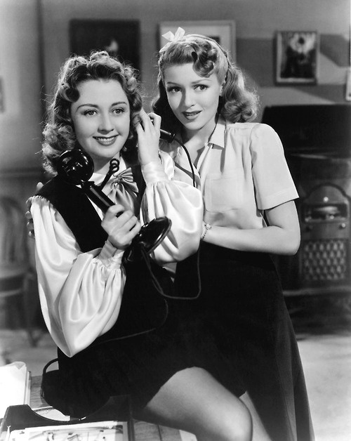 """Joan Blondell and Lana Turner in """"Two Girls on Broadway"""" (1940)."""