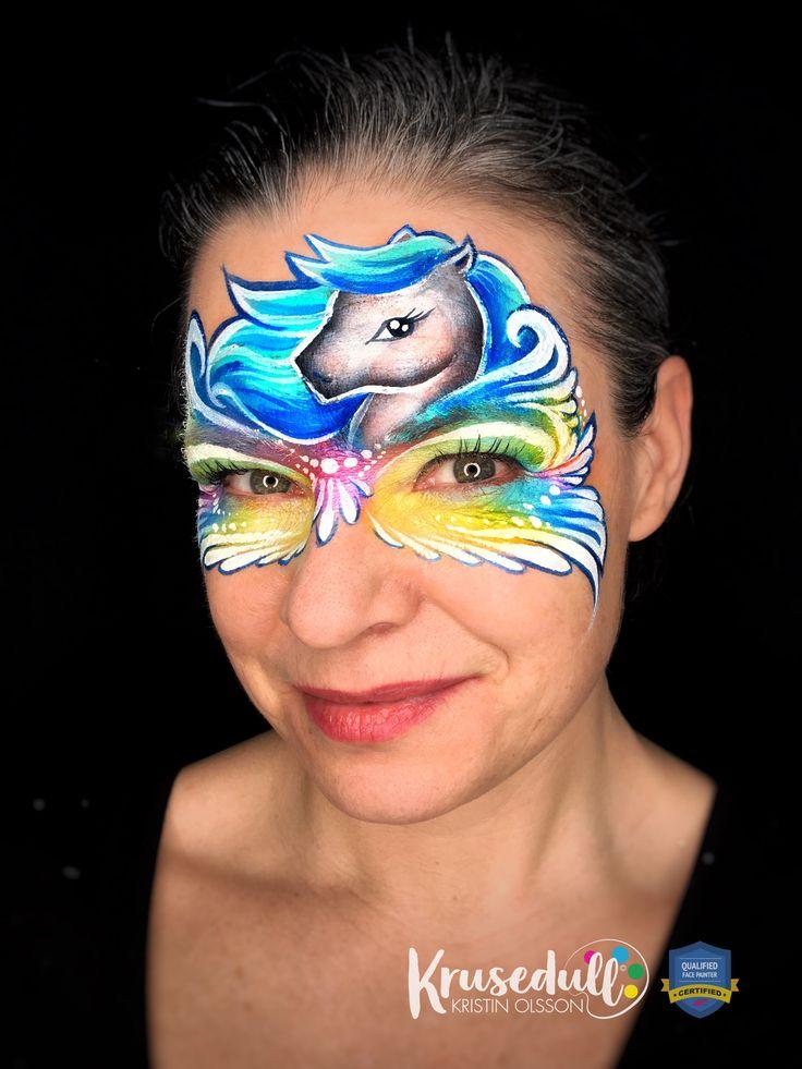 Rainbow pony face paint
