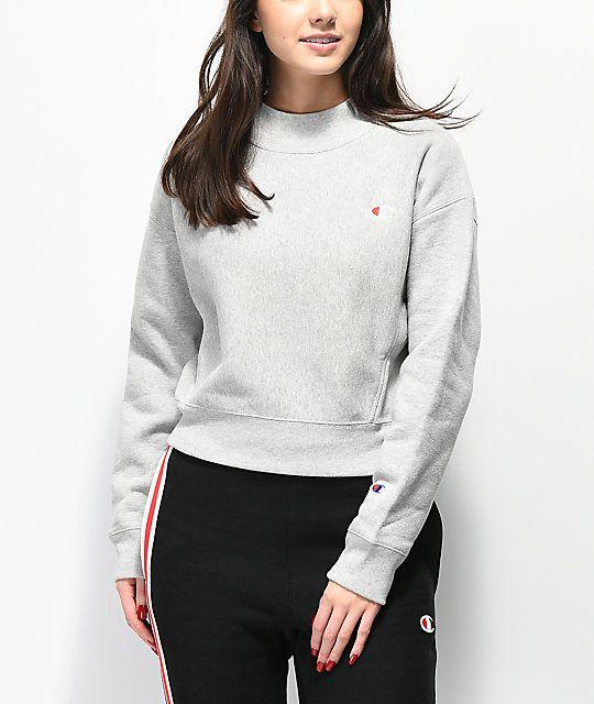 732bda4e Champion Reverse Weave Grey Mock Neck Crop Sweatshirt | THINGS I ...