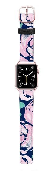 Casetify Apple Watch Band (42mm) Saffiano Leather Watch Band - Pink Peonies on Navy -- Watercolor Florals for Apple Watch by Frost Design Co.