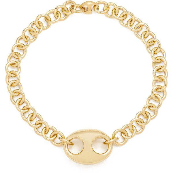 Gabriela Artigas Egg Link Chain Choker Necklace ($575) ❤ liked on Polyvore featuring jewelry, necklaces, gold plated choker necklace, chain link necklace, gold plated pendants, chunky chain necklaces and choker jewelry
