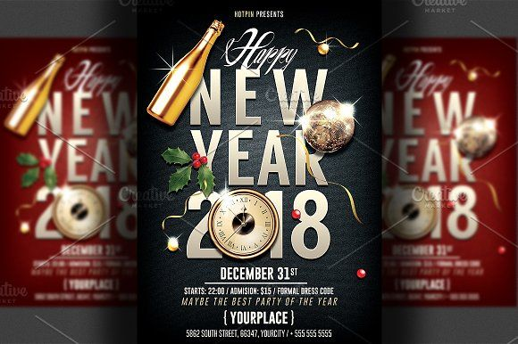 New Year Party Flyer Template By Hotpin On Creativemarket  Flyers