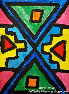 Art inspired by the south african Ndebele tribe. awesome for 4th