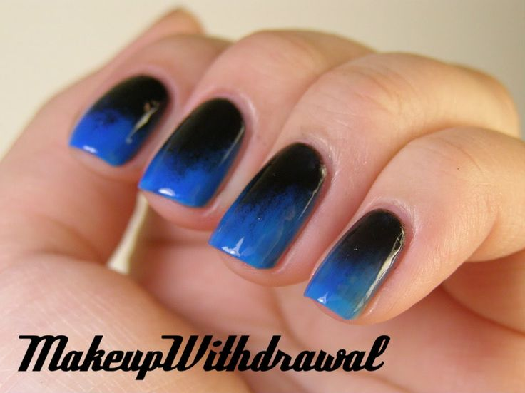 blues: Nails Art, Nails Design, Blueblack Gradient, Blue Black Gradient, Gradient Nails, Nails Polish, Amazing Nails, Blue Nails, Neon Blue