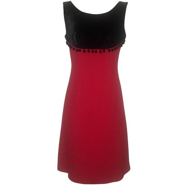 Preowned Moschino Cheap & Chic 90s Black & Red Velvet Top Sleeveless... (1,105 SAR) ❤ liked on Polyvore featuring dresses, cocktail dresses, red, red dress, moschino dress, red sleeveless dress, polka dot cocktail dress and red velvet cocktail dress
