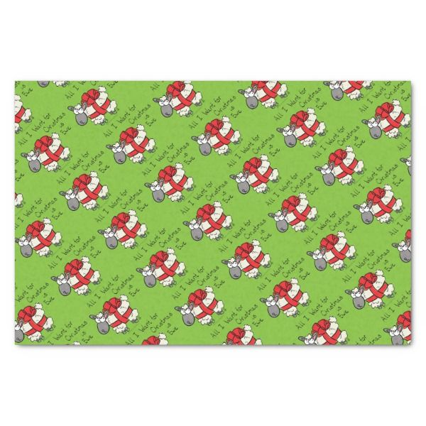 All I Want for Christmas is Ewe Sheep Cartoon Tissue Paper #christmas #giftwrap #xmas #wrappingpaper #tissuepaper