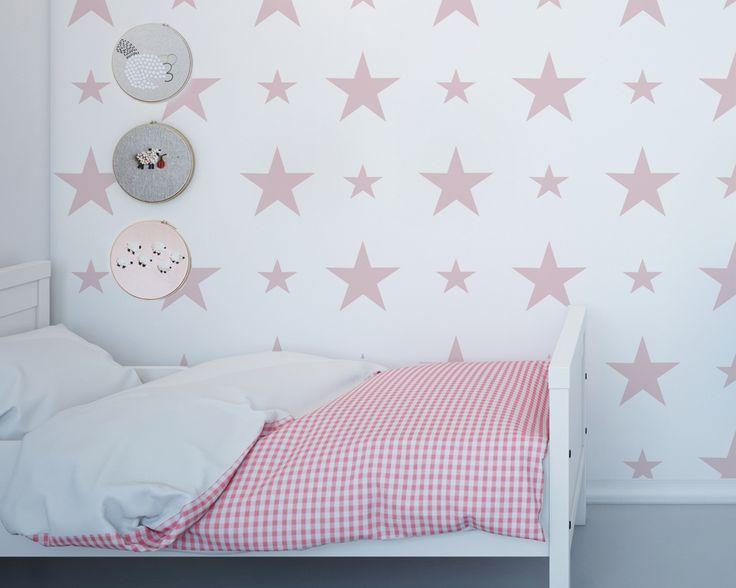 Tapeta różowe gwiazdy - Sklep Toto Design