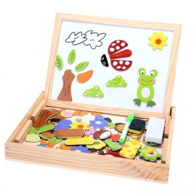Le magnétisme Animal fantastique en bois nouveau chevalet Doodle planche à dessin Jigsaw Blackboard jouet pour enfants | cndirect.com