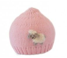 baby hat with sheep - pink