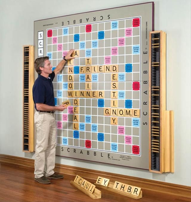 Wall size Magnetic Scrabble game. So cool!! LOVE for basement one day...--- LOVE, LOVE...