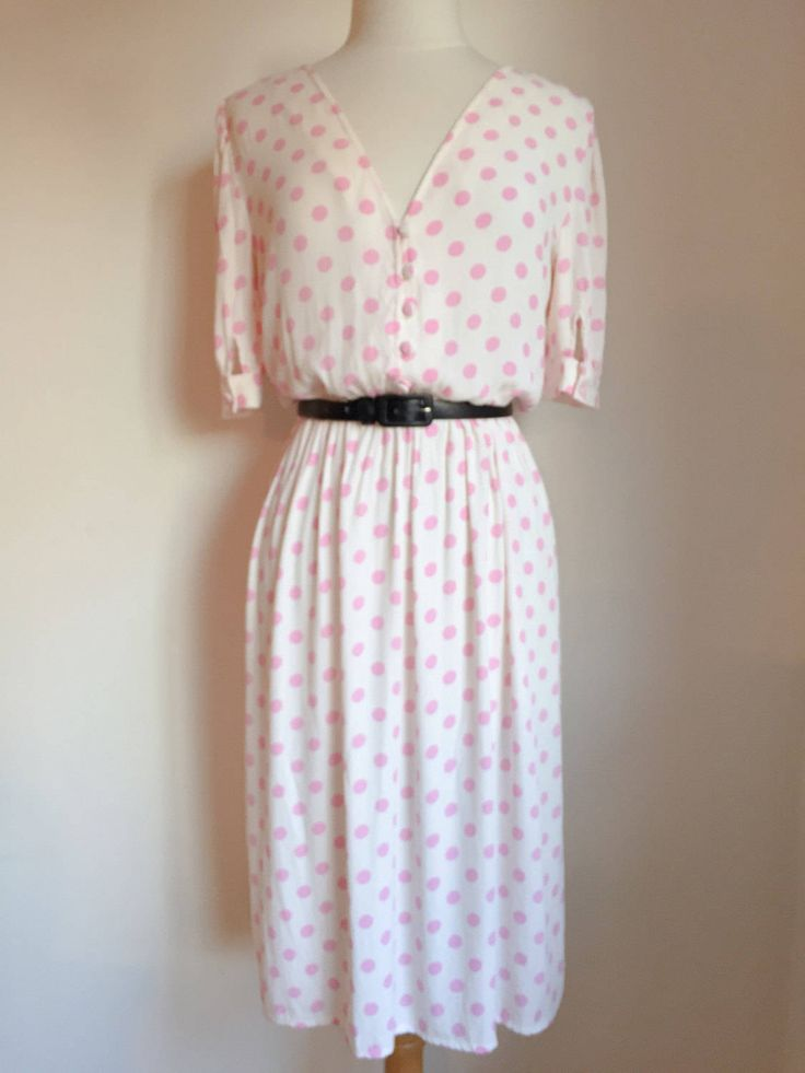 A personal favorite from my Etsy shop https://www.etsy.com/ca/listing/512510527/vintage-polka-dot-dress-pink-polka-dots