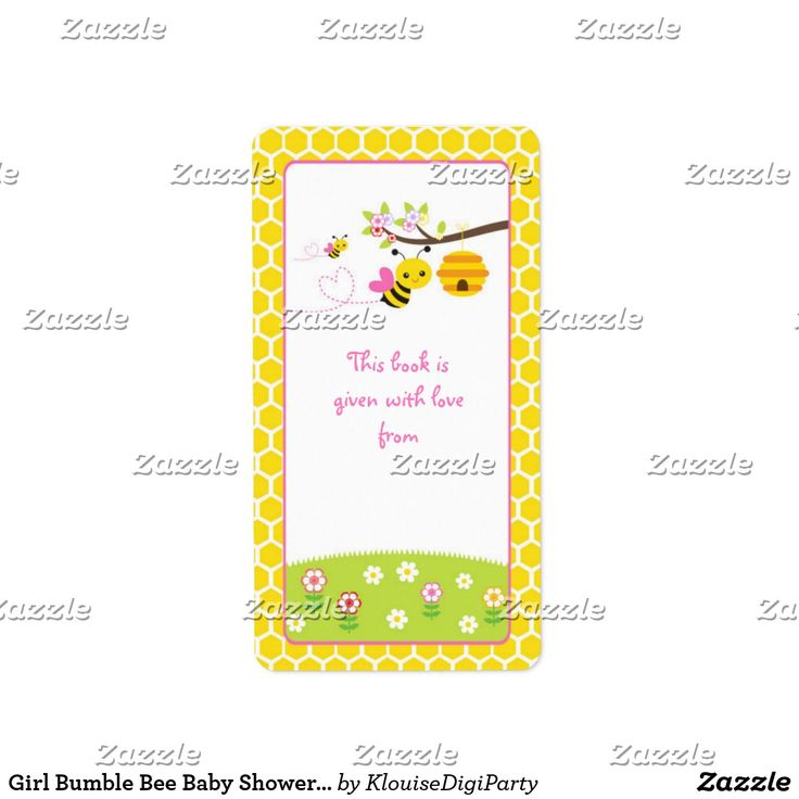 Girl Bumble Bee Baby Shower Bookplate