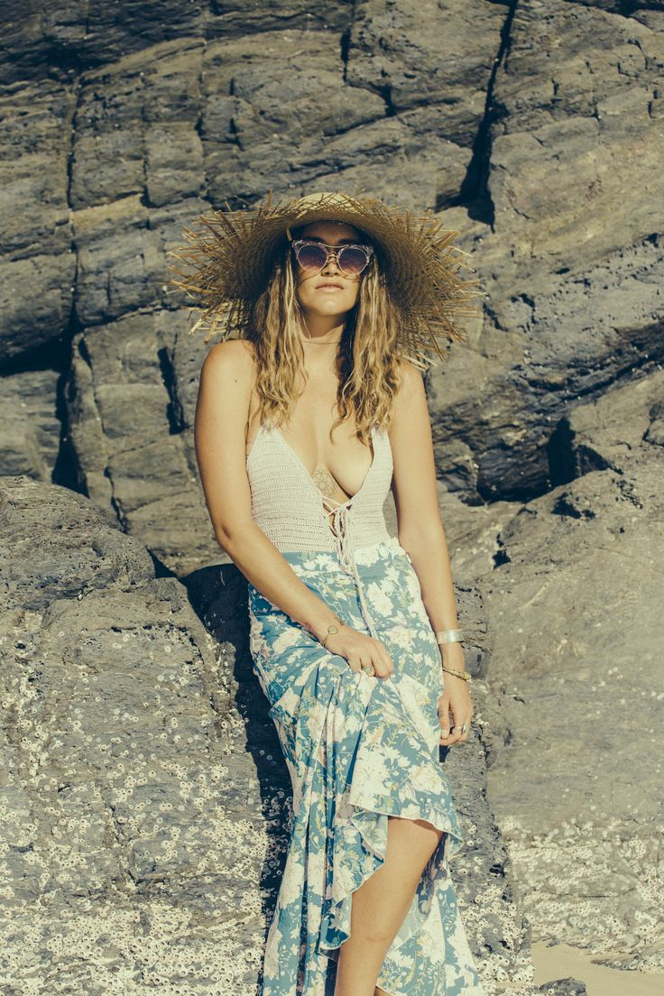 Muse Shayna in our Flores skirt shot by @maple_vice <3   Sunnies - Trash Byron Bay Crochet - South of the border Hat - Lack of Colours from Goddess of Babylon
