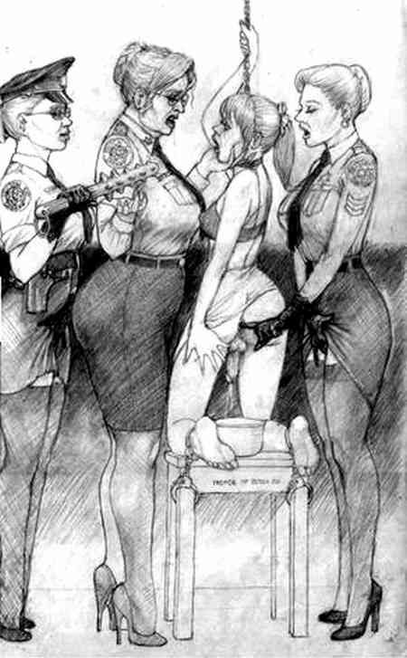 Images of women dominating, tormenting helpless, enslaved  pre-operative transsexual girls.