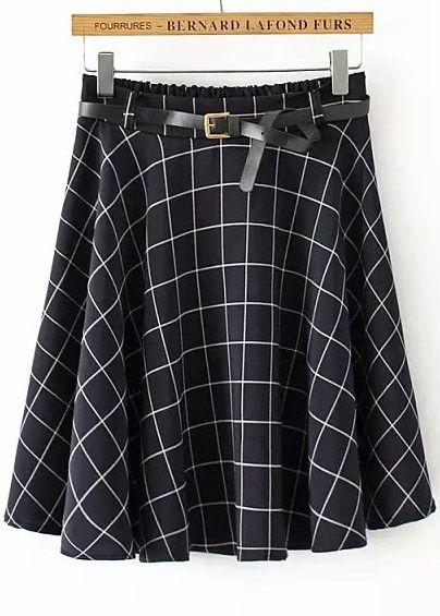 Navy Elastic Waist Plaid Pleated Skirt 7.83