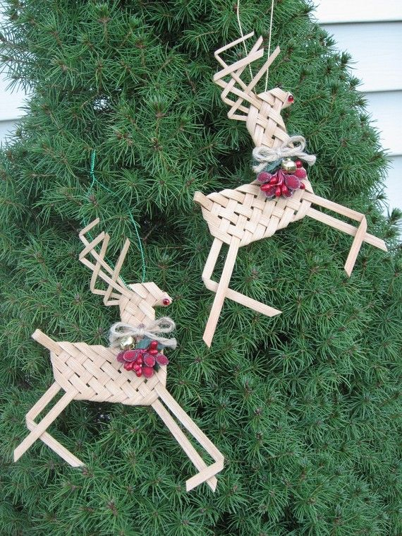 Woven Reindeer Ornaments Set of 2 Made from by WeavingsByPat
