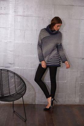 Diagonal Striped Pullover Free Knitting Pattern