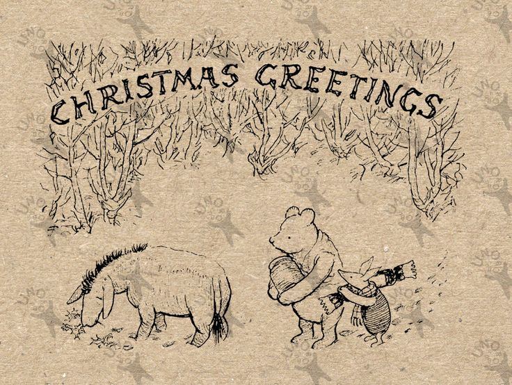 Winnie the Pooh Christmas Instant Download Digital printable vintage clipart  for stickers, scrapbooking,  home decor,  prints etc HQ 300dpi by UnoPrint on Etsy