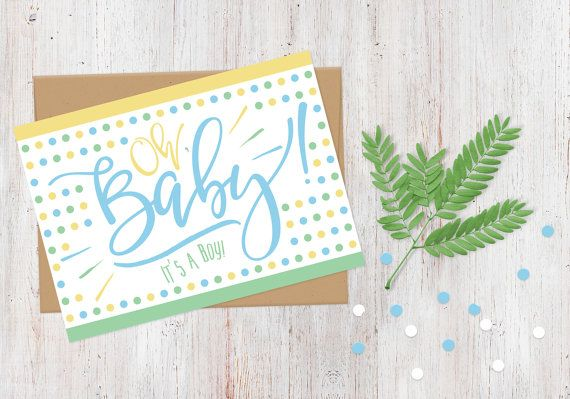 Congratulations Baby Boy Card  New Baby Card  Oh by AlluringPrints