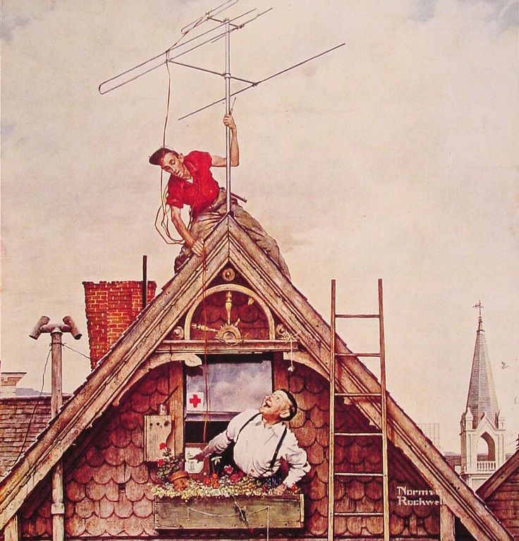 """""""New Television Antenna"""" by Norman Rockwell, 1949 ・ Style: Regionalism ・ Genre: genre painting"""