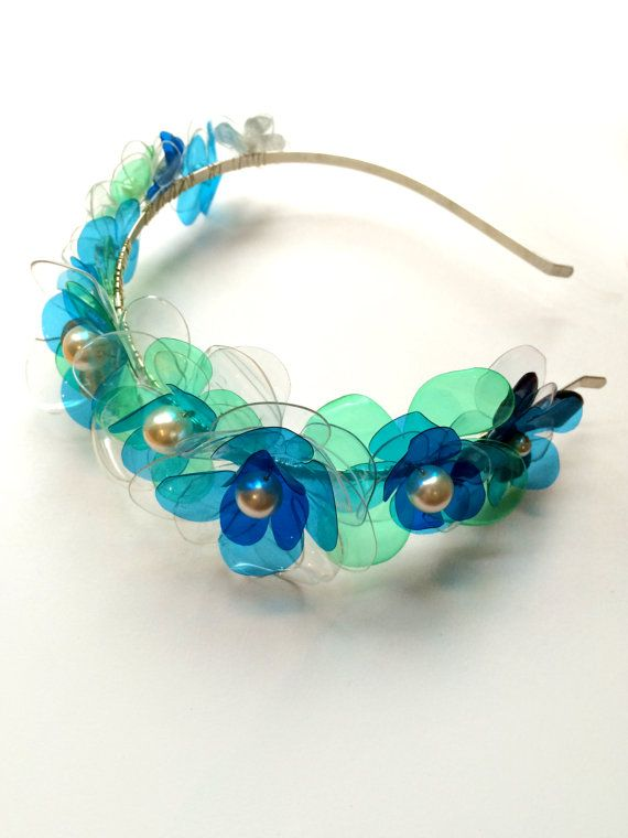 SALE Flower Tiara in Blue, Bridal Hair Accessory, Wedding Tiara, Upcycled Jewelry, Floral Headpiece by ENNA