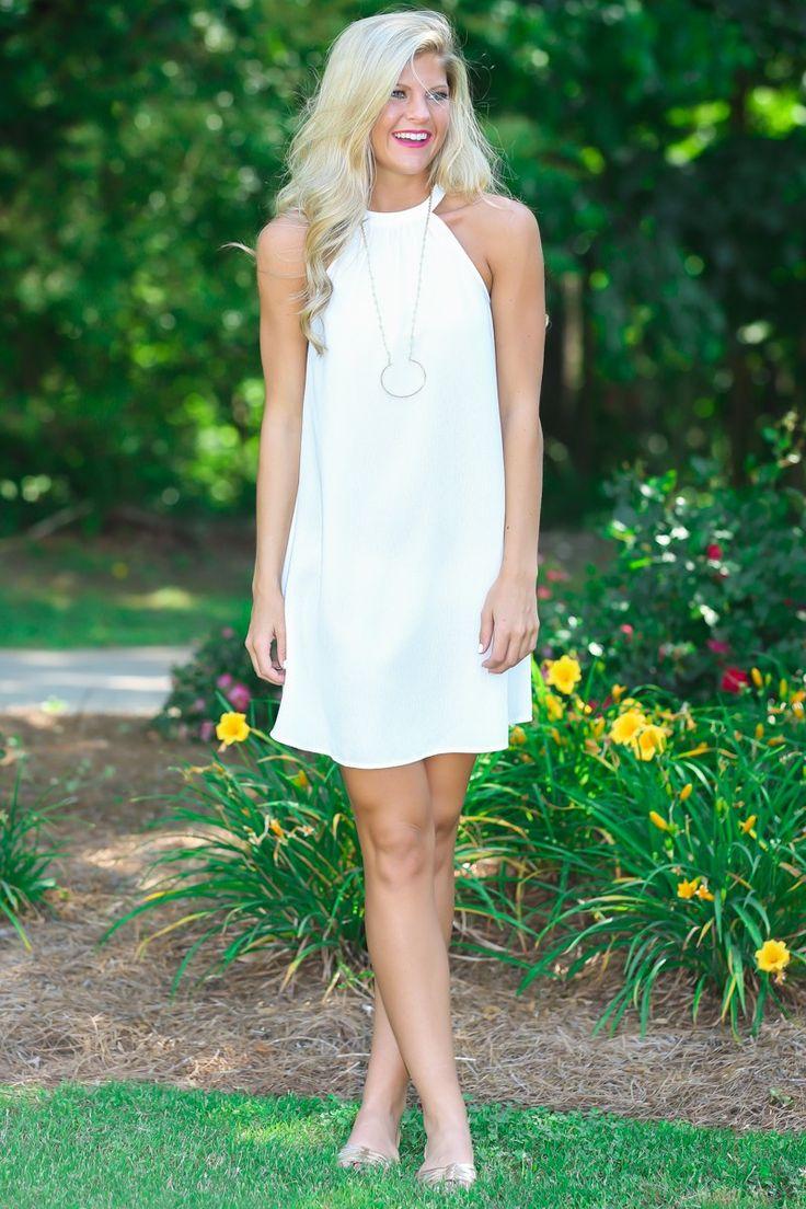 Sweet Nothings White Halter Dress at reddressboutique.com