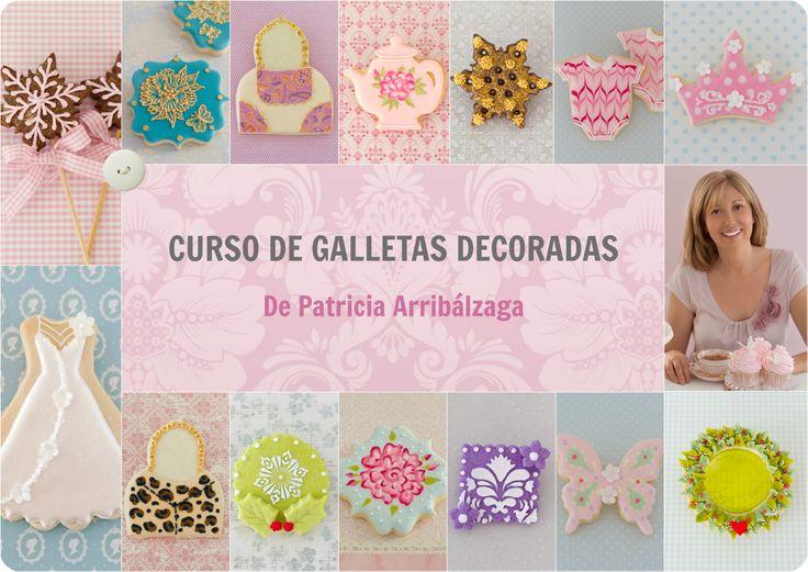 CURSO ONLINE DE GALLETAS DECORADAS de Patricia Arribálzaga, con vídeos de varias horas de duración y recetas. Ya disponible en http://www.cakeshautecouture.com/cursos/