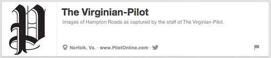 http://pinterest.com/virginianpilot/  @The Virginian-Pilot Virginian-Pilot Norfolk, Virginia The Virginian-Pilot View a full alphabetical list here: http://www.NewspapersOnPinterest.com #Newspapers #newspapersonpinterest