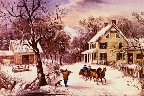 """""""Come, ye thankful people, come,  Raise the song of harvest home;  all is safely gathered in,  ere the winter storms begin.""""  ~ Henry Alford  Artist: Currier and Ives: Homestead Winter"""
