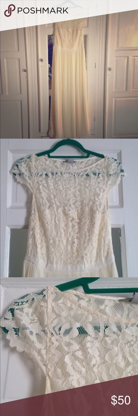 H&M Ivory Maxi Dress Off-white maxi with lace top and pleated skirt. Lace does not stretch. Grosgrain ribbon at waist. Side zip. Both skirt and top are fully lined. Perfect for a casual wedding or bridesmaid dress! H&M Dresses Wedding