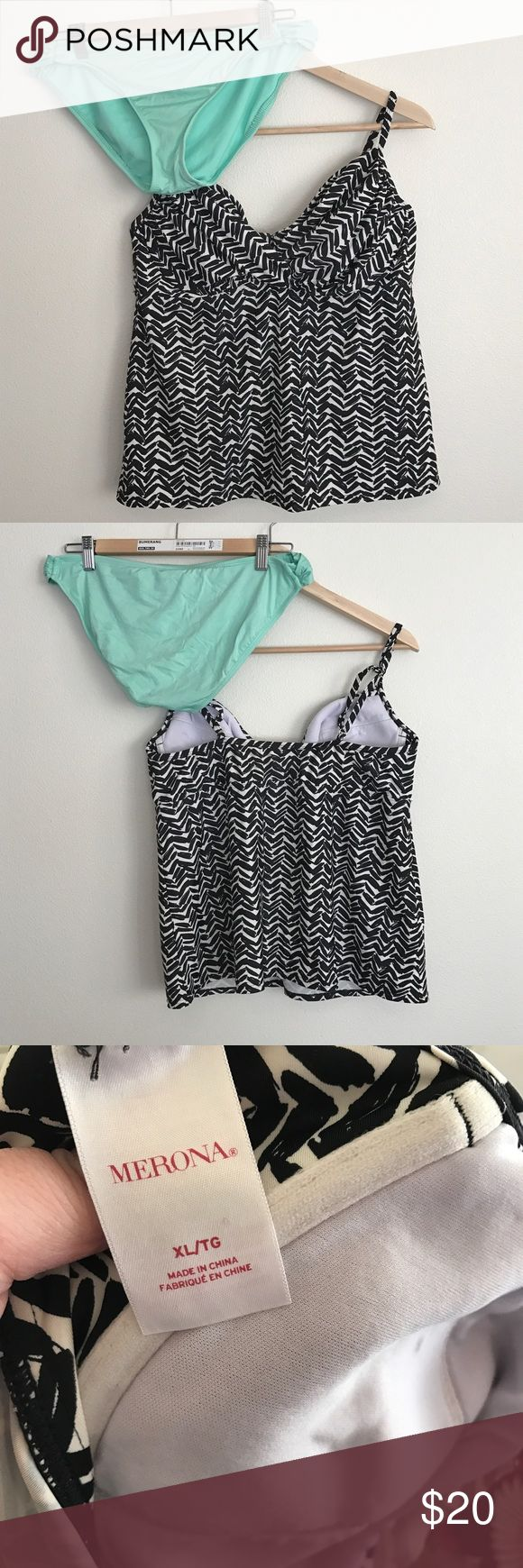 Tankini Set | Aqua, black & white Cute tankini set. Top is merona brand, black and white pattern, great condition and size XL. Bottom is mossimo brand, aqua colored and size XL, has some piling but in great condition. Mossimo Supply Co. Swim Bikinis