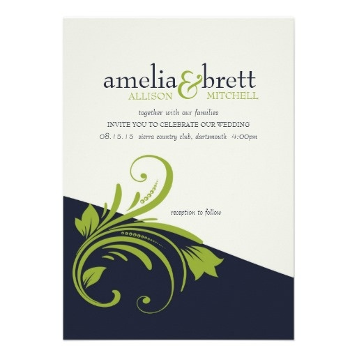 Modern Floral Photo Wedding Lime And Navy Blue Card