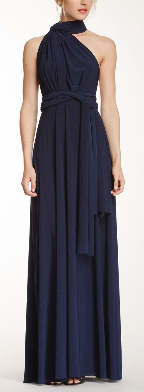 Maxi Convertible - Navy Inexpensive dress for bridesmaids and can be worn in numerous ways for each girl