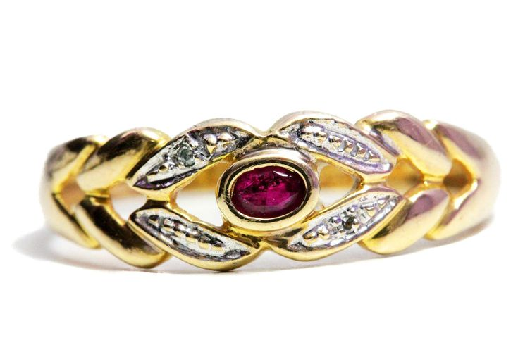 New to Tezsahcom on Etsy: Ruby 10k Gold Ring Diamonds (199.00 EUR)